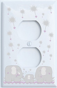 Grey and Purple Dandelion Elephant Outlet Switch Plates Covers / Elephant Nursery Decor