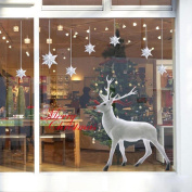 Leewos Merry Christmas Wall Decals Snowflakes White Reindeer Wall Stickers, Easy to Apply and Remove