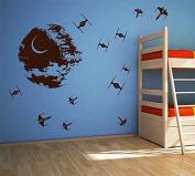 ik2726 Wall Decal Sticker Death Star Star Wars space ships nursery teenager