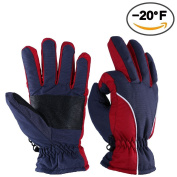 Winter Gloves, OZERO -20ºF Cold Proof Thermal Ski Glove for Men & Women - Reinforced PU Palm and TR Cotton Insert - Water Resistant & Windproof - Denim-Frost/Berry-Red/Wine-Cream