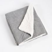 Grey Corduroy and Sherpa Design Decorative Throw Blanket, 130cm X 150cm