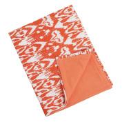 Tangerine Ikat Decorative Throw Blanket with Kantha Stitches, 100cm X 150cm