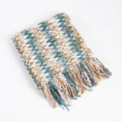 Multi Knitted Chevron Design Decorative Throw Blanket, 130cm X 150cm