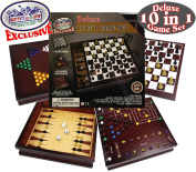 Matty's Toy Stop Exclusive Deluxe 10-in-1 Chess, Checkers, Tic Tac Toe, Backgammon, Mill, Roll Em, Insanity, Chinese Checkers, Mancala & Pick-Up Sticks Wooden Cabinet Game Set