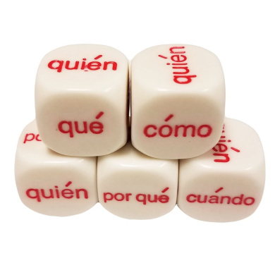 Set of 5 Educational Dice 6 Sided Interrogative Spanish Español 16mm White in Snow Organza Bag