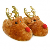Slumberzzz Children's Novelty Christmas Rudolph Reindeer Slippers, Brown/Red, Size UK 11/12