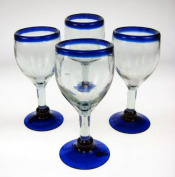 Mexican Glass, Wine, Hand Blown, Blue Rim (Set of 4) 410ml