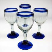 Mexican Glass, Wine, Hand Blown, Blue Rim (Set of 4) 410ml