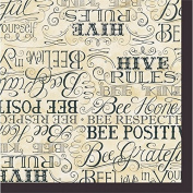 Cypress Home Bee Happy Embossed Paper Luncheon Napkin, 20 count