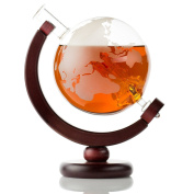 Globe Large Etched Glass Whiskey Bourbon Decanter - 1000ml (35 oz) with ship inside and dark finished wood stand for Scotch, Rum, Tequila, Liquor, Wine