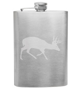 White Tailed Deer Big Buck Hunter 240ml Stainless Steel Flask - Hand Etched - Made in the USA, Great for gifts