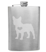 French Bulldog Frenchie Love 240ml Stainless Steel Flask - Hand Etched - Made in the USA, Great for gifts