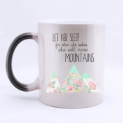 SCSF 330mls Ceramic Material Let Her Sleep She Will Move Mountain Coffee Mug Heat Reveal Changing Colour Hot Reactive Tea Cup