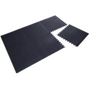 Soozier Exercise Interlocking Protective Flooring - 60cm x 60cm x 1cm Tiles - Black Diamond Plate