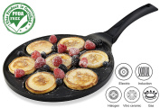 Gourmia GPA9515 Blini Pan With Induction Bottom Nonstick Silver Dollar Pancake Maker Features 7-Mould 100% PFOA free non-stick coating
