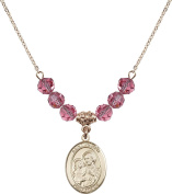 Gold Plated Necklace with 6mm Rose Birthstone Beads & Saint Joseph Charm.