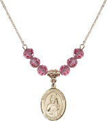 Gold Plated Necklace with 6mm Rose Birthstone Beads & Saint Wenceslaus Charm.