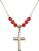 Gold Plated Necklace with 6mm Ruby Birthstone Beads & Cross Charm.