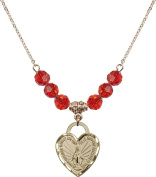 Gold Plated Necklace with 6mm Ruby Birthstone Beads & Miraculous Heart Charm.