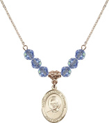 Gold Plated Necklace with 6mm Light Sapphire Birthstone Beads & Saint Josemaria Escriva Charm.