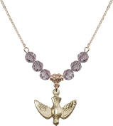 Gold Plated Necklace with 6mm Light Amethyst Birthstone Beads & Holy Spirit Charm.