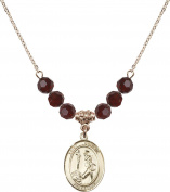 Gold Plated Necklace with 6mm Garnet Birthstone Beads & Saint Dominic de Guzman Charm.