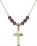 Gold Plated Necklace with 6mm Amethyst Birthstone Beads & Cross Charm.