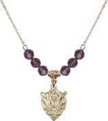 Gold Plated Necklace with 6mm Amethyst Birthstone Beads & Communion Charm.