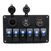 Paymenow Digital Voltmeter 12V Cigarette Socket 6 Gang Waterproof Double USB Power Charger Adapter Flush Mount Car Auto Boat Marine LED Rocker Switch Panel Circuit Breakers for RV Car Boat