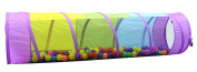 Kiddey Multicoloured Play Tunnel for Kids (6') – Crawl and Explore Tent, With See Through Mesh Sides, Promotes Healthy Fitness, Early Learning, and Muscle Development – Indoor/Outdoor Use.