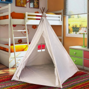 EasyGo Products Indoor Tee Pee Tent – 1.8m Tall Classic Indian Play Tent for Kids with Five Wood Poles and Carry Bag – Five-Sided Walls with Door, Window and Floor