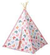 HearthSong Butterfly Patterned-Fabric Four-Pole Teepee