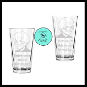Golden Girls Etched Drinking Glass Set of TWO (By Brindle S. Designs) - Sophia Petrillo