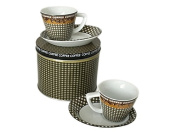Modern Espresso Set For 2 in Metal Gift Box