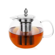 Hiware Glass Teapot with Removable Infuser, 1400ml, Blooming and Loose Leaf Tea Pot, Microwavable and Stovetop Safe Tea Pot and Tea Strainer