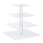Utenlid Acrylic 4-Tier Square Stacked Party Cupcake Stand with Stable Screw-On Pillars - Tiered Cupcake Stand / Cupcake Tower