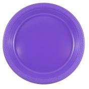 JAM Paper Round Plastic Party Plates - Large - 26cm - Hot Purple - 20/pack