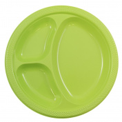 JAM Paper Plastic 3 Compartment Divided Plates - Large - 26cm - Lime Green - 20/pack