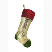 Valery Madelyn 50cm Classic,Traditional Gold and Green Christmas Stocking with Red Cuff