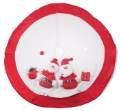 Premium Santa and Snowman Christmas Tree Skirt - 110cm - Red, White