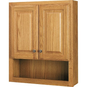 Style Selections 60cm x 70cm Ready-To-Assemble 2 Door Bathroom Wall Wood Medicine Cabinet, Honey Oak