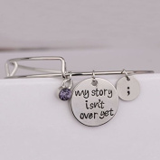 "Ingooood Graduation Gift ""my story isn't over yet"" Pendant Bangle Simple Charm Bnagles Pulsera For Women"