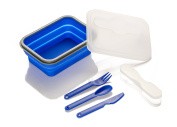 SE STW600-BL Large Collapsible Silicon Food Container (17cm x 13cm ) with Utensils