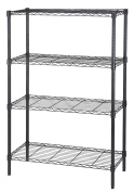 Finnhomy 4-Tier Thicken Pole Heavy Duty Wire Shelving Unit Adjustable Steel Wire Rack Shelving 4 Shelves Steel Storage Rack with Stable Levelling Feet, Black