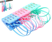 yueton Pack of 12 Clothes Peg Clip Pins Rope Hanging Clothesline Windproof Hanger