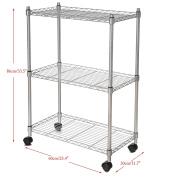 Homdox 3-Tier Storage Organiser Wire Shelving Unit, Silver