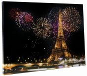Light Up Paris Eiffel Tower Wall-Hanging Painting with LEDs - 30cm x 41cm