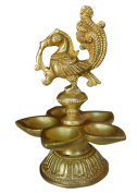 Purpledip Unique Pure Brass Peacock with 5 deepaks, Indian Religious gift ideas
