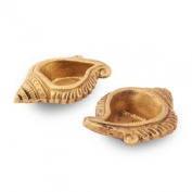 Purpledip Set of 2 Brass Arti Diyas Indian Religious gift
