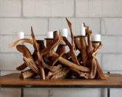 Teak Root Reclaimed Wood Candle Holder Extra Large - Unique Style - Rustic Pillar Holder - Includes Candles